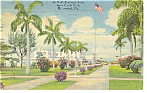 Hollywood FL Business Area from Circle Park Postcard p11556 1946 (Image1)