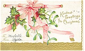 Kindest Greetings for Christmas Postcard p11595 1908 (Image1)