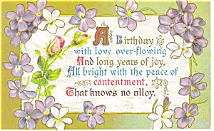 A Birthday with Love Overflowing Vintage Postcard p11600 (Image1)