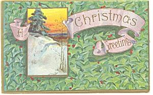 Christmas Postcard Hilltop Tree p11619 1911 (Image1)