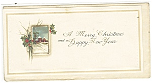 Vintage Christmas Card Snow Scene and Holly (Image1)