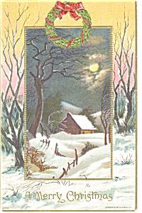 Christmas Postcard Wreath and Snow Scene p11624 1909 (Image1)