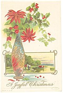 Christmas Postcard Flowers in Vase Postcard p11625 (Image1)