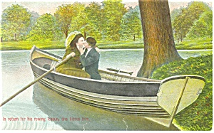 Two Victorian Lovers in Rowboat Postcard p11775 1909 (Image1)