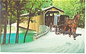 Amish Buggy At A Covered Bridge Postcard P11819