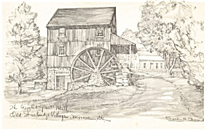 Wight Grist Mill,Old Sturbridge Village, MA Postcard (Image1)