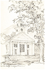 Meetinghouse Sketch,Old Sturbridge Village, MA Postcard (Image1)