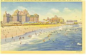 Atlantic City NJ Hotels and Beach Linen Postcard p11886 (Image1)