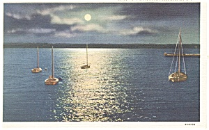 Geneva  NY Moonlight on Seneca Lake Postcard p11891 (Image1)