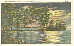 Geneva NY Moonlight on Lake Seneca  Postcard p11892 1936 (Image1)