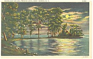 Geneva NY Moonlight on Lake Seneca  Postcard p11894 1936 (Image1)