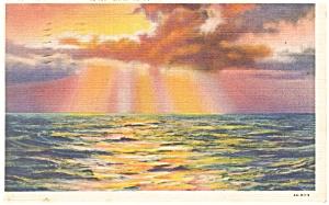 Geneva NY Sunrise on Lake Seneca  Postcard p11896 1936 (Image1)