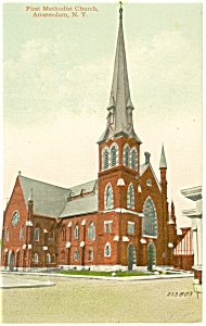 Amsterdam NY First Methodist Church Postcard p11902 (Image1)