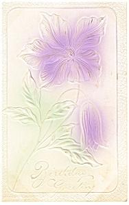 Embossed Flower Birthday Postcard p11936 1908 (Image1)