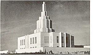 LDS Temple Idaho Falls Idaho  Postcard p1195 (Image1)