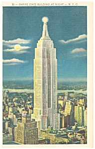Empire State Building at Night New York City Postcard p11961 (Image1)