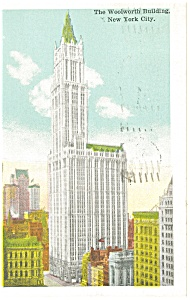The Woolworth Building New York City Postcard p11992 1930 (Image1)