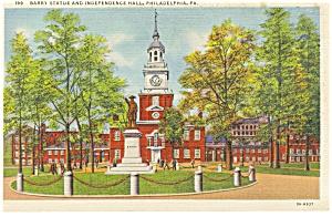 Philadelphia PA Barry Statue Postcard p12045 (Image1)
