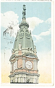 Philadelphia PA City Hall Tower Postcard p12061 (Image1)
