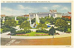 Philadelphia PA Logan Circle Postcard p12064 1938 (Image1)