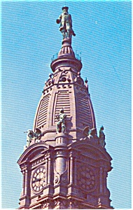 Philadelphia PA William Penn Statue Postcard p1209 (Image1)