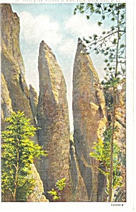Needles in State Park,Black Hills, SD Postcard 1944 (Image1)