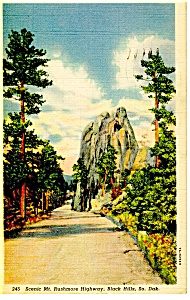 Mt Rushmore Highway, SD Postcard 1943 (Image1)