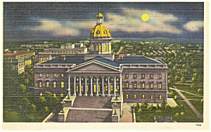 Columbia, SC, State Capitol at NIght Postcard 1944 (Image1)