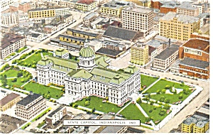 Indianapolis, IN, State Capitol Postcard 1945 (Image1)