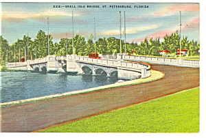 St Petersburg, FL, Snell Isle Bridge Postcard 1946 (Image1)