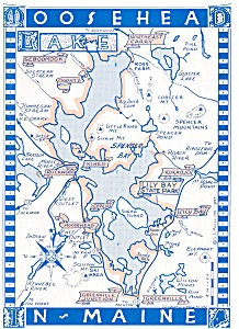Map of Moosehead Lake, Maine Postcard (Image1)