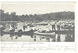 Boston Mass Canoeing on the Charles Postcard p12305 1907 (Image1)