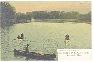 Auburndale, MA Canoeing on the Charles Postcard 1911 (Image1)