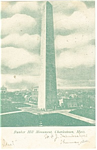 Charlestown, MA Bunker Hill Monument Postcard 1907 (Image1)