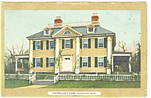 Cambridge MA Longfellow's Home Postcard 1911 (Image1)