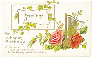 Happy Birthday Card Vintage Postcard (Image1)