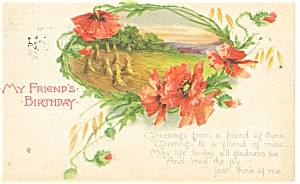 My Friend s Birthday Card Postcard p12356 1916 (Image1)