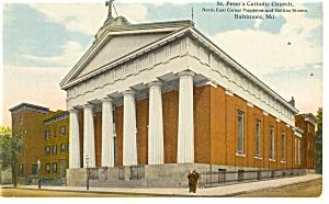 Baltimore MD St Peter s   Catholic Church Postcard p12383 (Image1)
