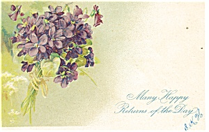 Happy Returns Postcard Violets 1907 (Image1)