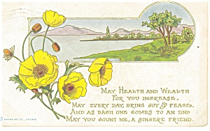 Best Wishes Postcard Lake Scene 1912 (Image1)