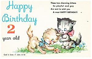 Birthday Postcard p12423 Kittens  (Image1)