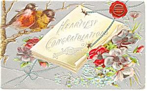 Congratulations Postcard p12426 Birds and Flowers 1910 (Image1)