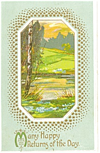 Happy Returns Postcard Wooded Scene 1914 (Image1)