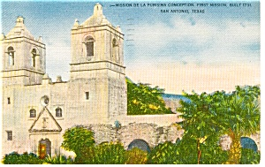 Mission  Conception Texas Postcard (Image1)