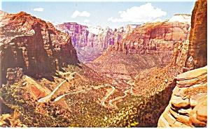 Zion National Park UT Mt Switchbacks Postcard p12461 (Image1)
