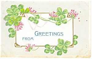 Greetings Postcard p12497 Clover and Flowers (Image1)