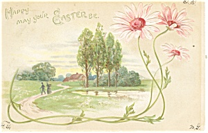 Easter Postcard Lake and Tree Scene (Image1)