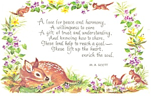 Ma Scott Poem Postcard Fawn And Chipmunks P12500
