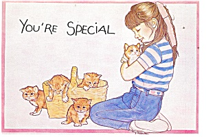 Girl With A Basket Of Kittens Postcard P12501