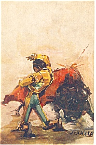 Matador With Bull Artist Signed Postcard P12507